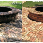 Brick Fire Pit Before-After Bordered