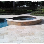 12x12 Ivory Chiselec Travertine Pool Deck