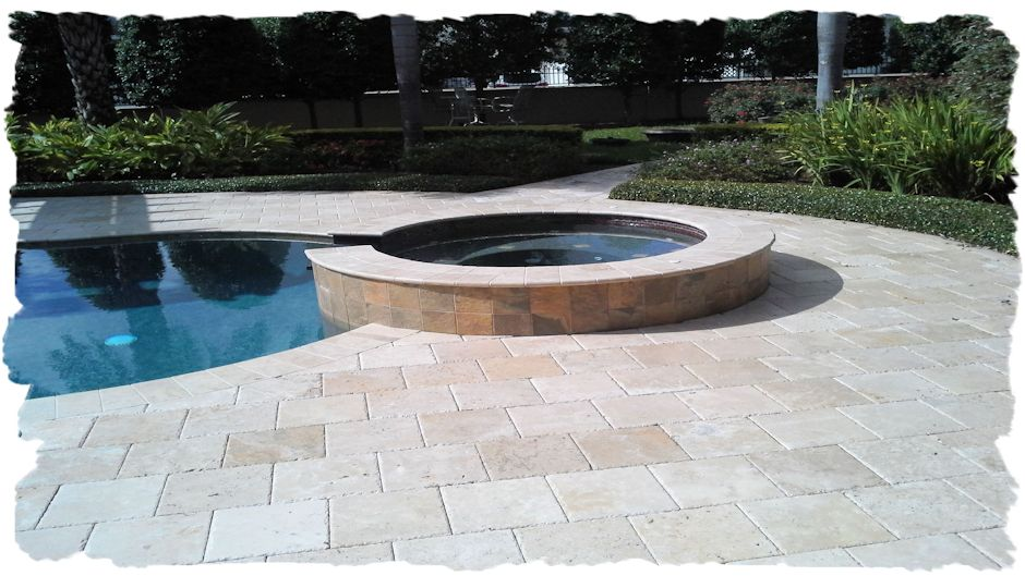 12x12 Ivory Chiselec Travertine Pool Deck Booths