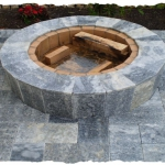 Silver Travertine Fire Pit