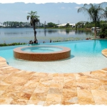 Gold Travertine Pool Deck