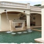 Ivory Travertine Pool Deck & Cabana Area
