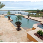 Noce Pool Deck with Gold Coping