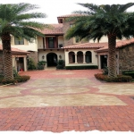 Used Detroit Clay Brick with Noce Travertine Accent